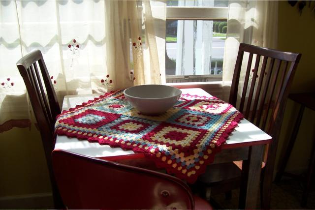 crochet granny square table topper