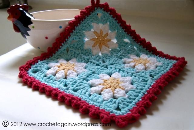 Crochet Granny Square Dishcloth Pattern : Daisy Dishcloth Crochet Again